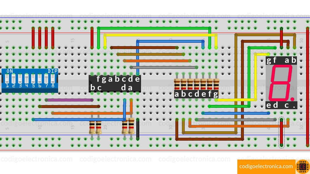 Breadboard de conexión display ánodo común