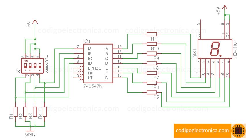 Esquema de conexión display ánodo común