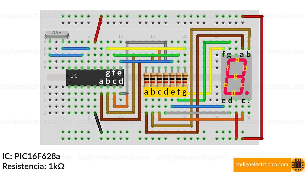 Conexión display 7 segmentos ánodo cómun schem