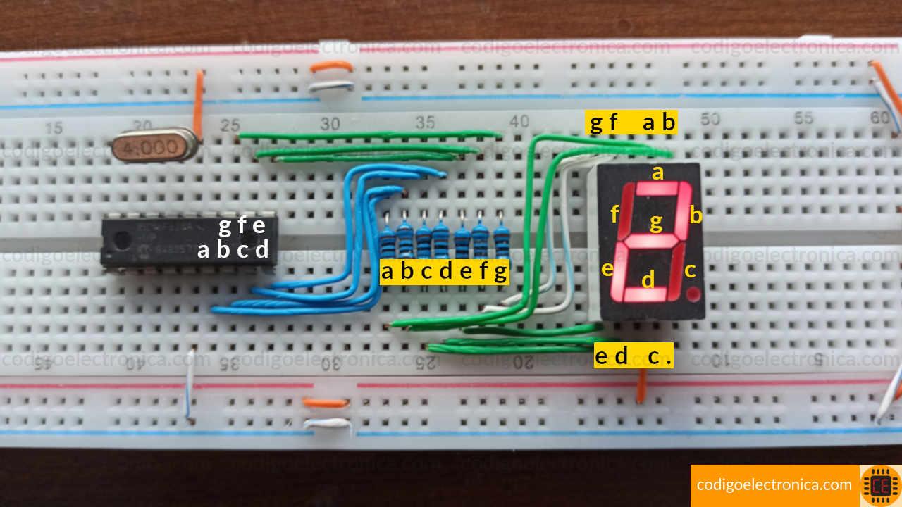 Conexión display 7 segmentos ánodo cómun foto