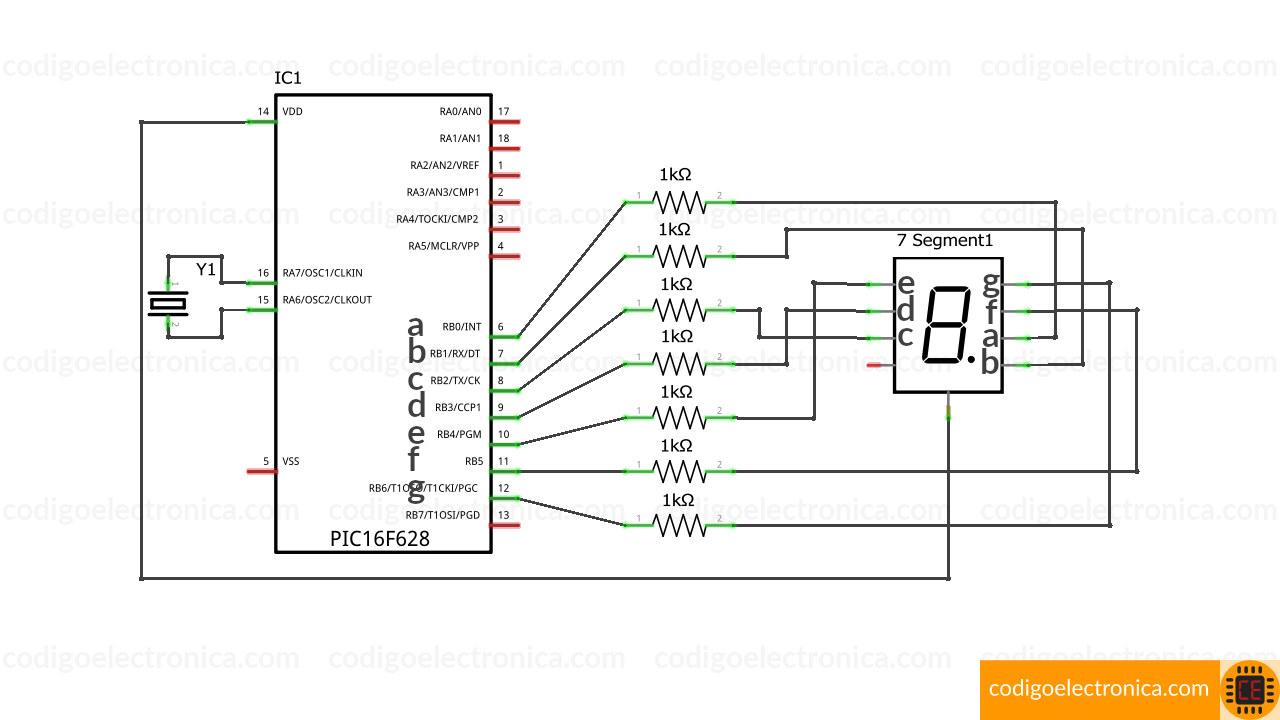Conexión display 7 segmentos ánodo cómun breadboard