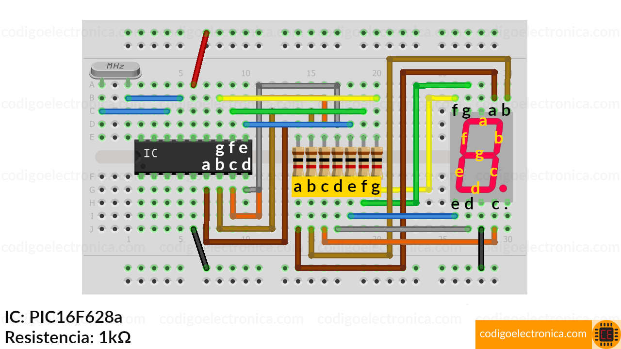 Conexión display 7 segmentos cátodo cómun schem