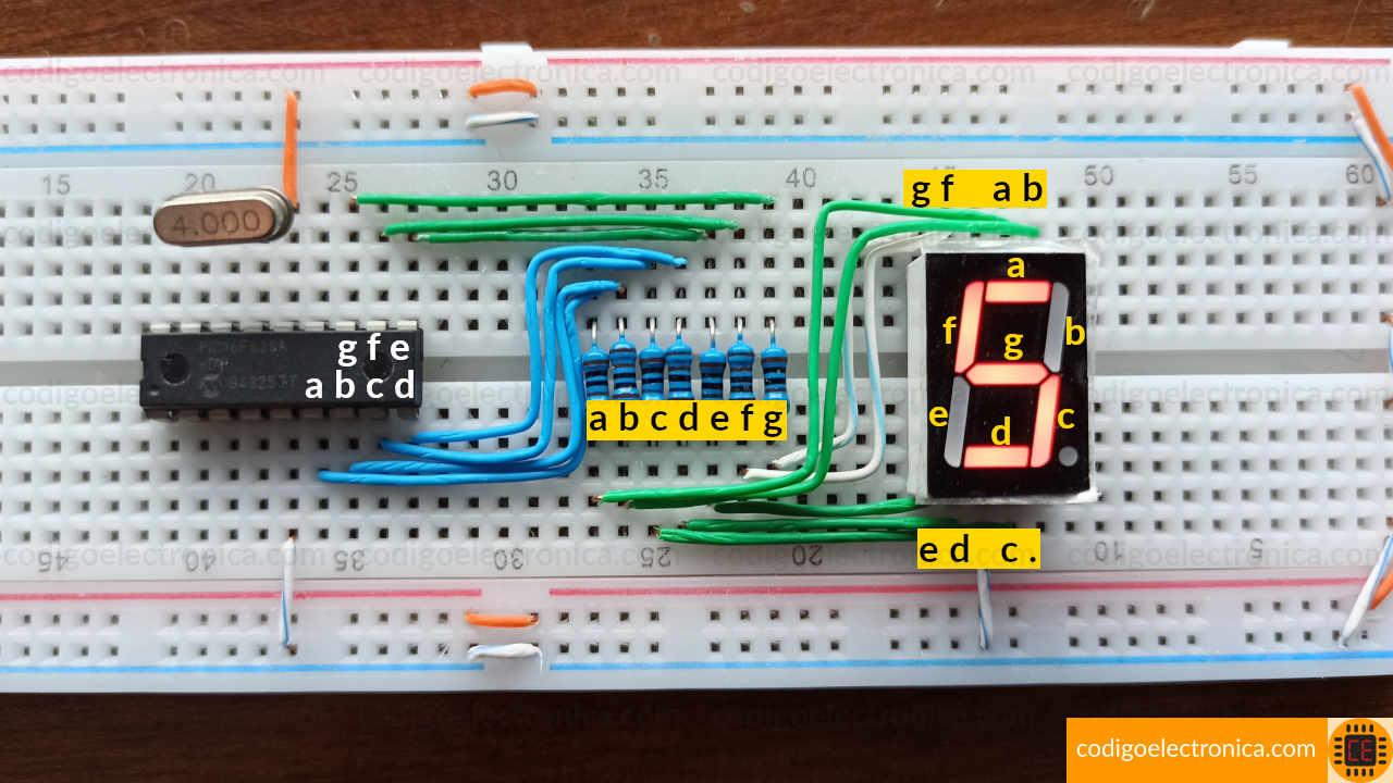 Conexión display 7 segmentos cátodo cómun foto