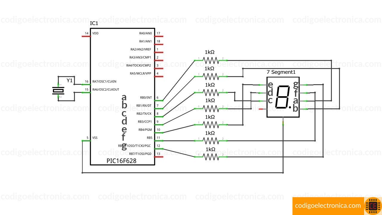 Conexión display 7 segmentos cátodo cómun breadboard