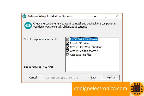 Arduino opciones instalación