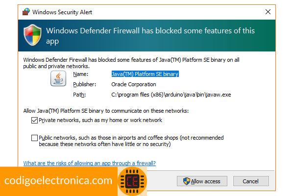 Arduino habilitar firewall