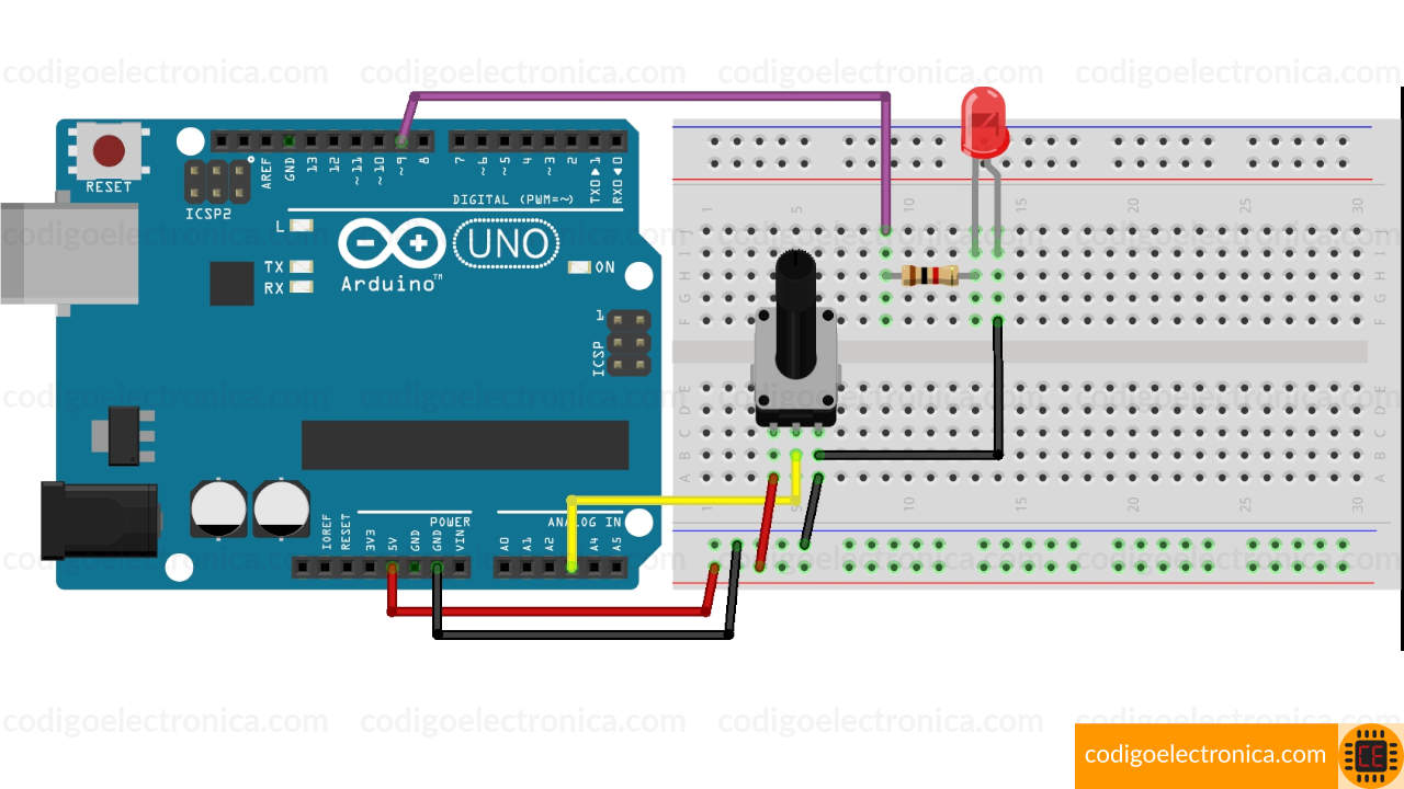 Board arduino control brillo led