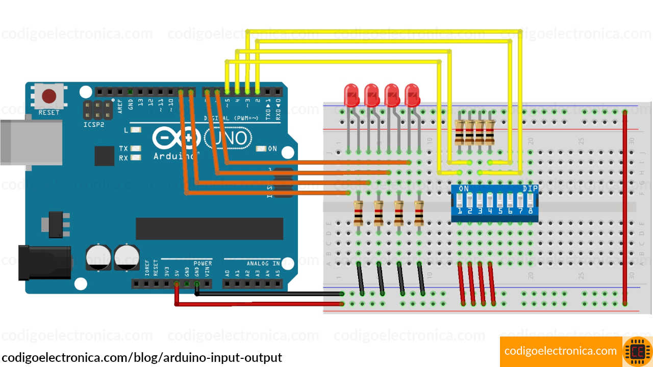 Arduino input output breadboard