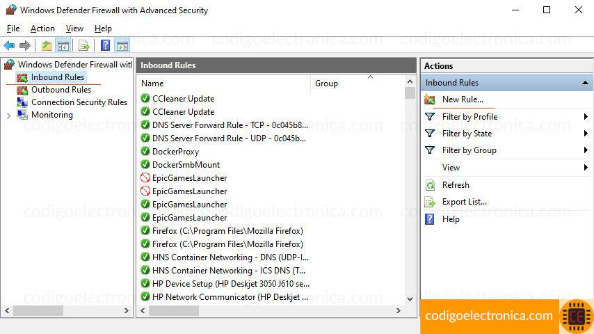 Configuración avanzada de Firewall de window