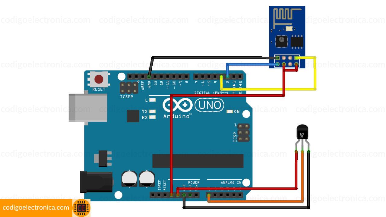 Arduino ESP8266 temperatura breadboard