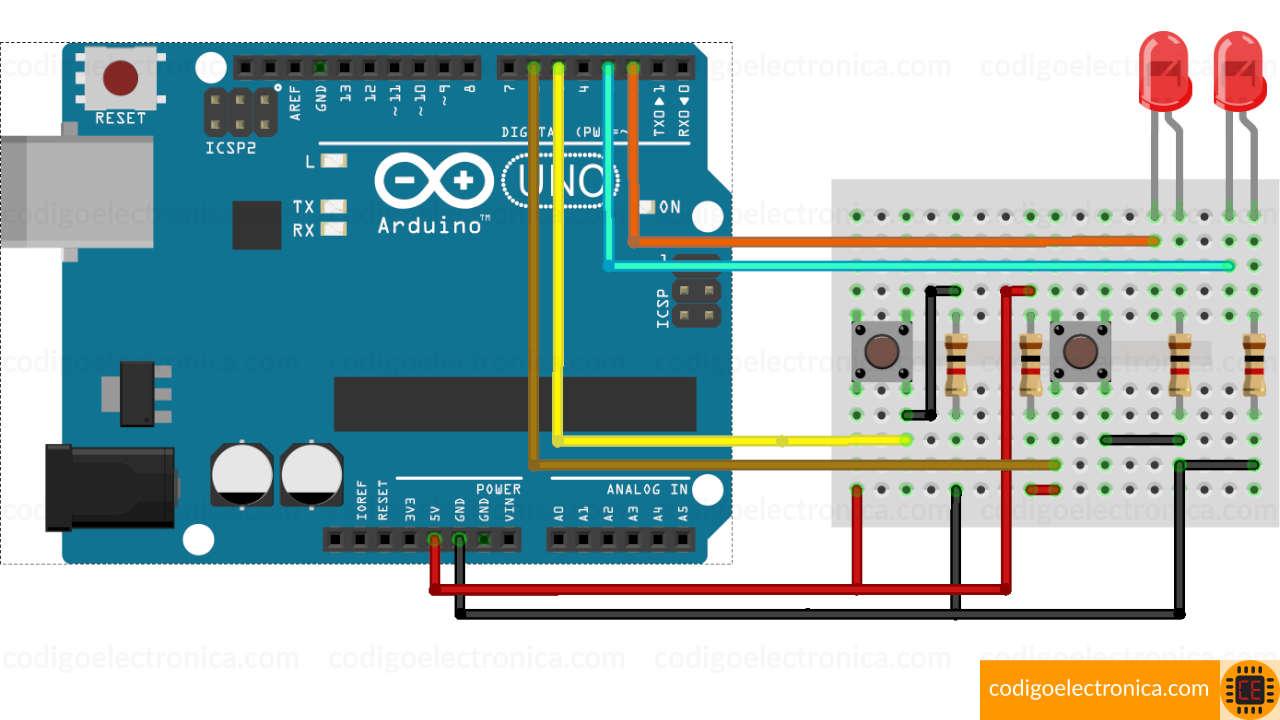 Arduino interruptores miniatura breadboard
