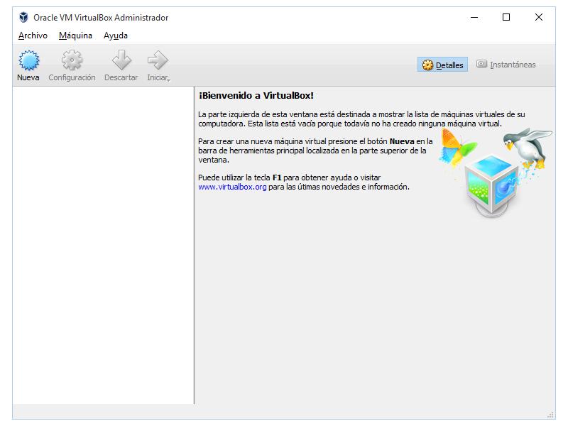 Pantalla inicial de virtualbox